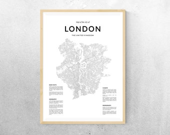 London map, London wall art, Map Wall Art, London map wall art, London poster, London wall art map poster, Black and White print, Map print