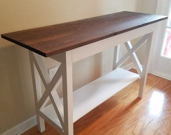 Farmhouse Traditional X Entryway Table with Bottom Shelf / Sofa Table / Foyer Table / Console / TV Stand