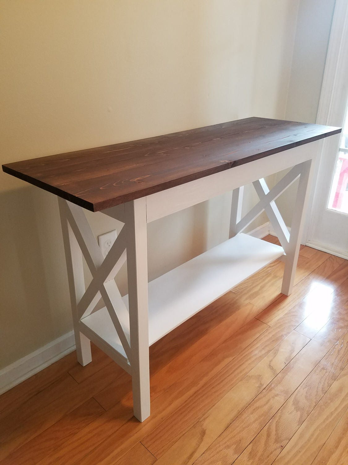 Traditional Foyer Table : Farmhouse traditional entryway table with bottom shelf