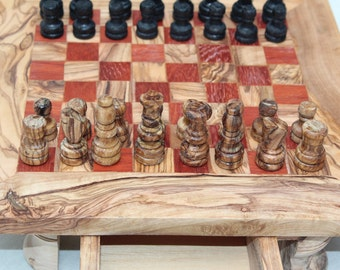 Square Shaped Olive Wood Chess set with Red color and 32 Chess pieces