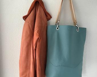 Light turquoise blue leather tote bag, shoulderbag
