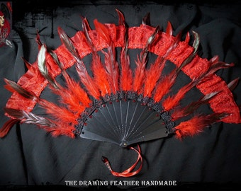 Chiffon black Fan with red fire feathers dark Burlesque