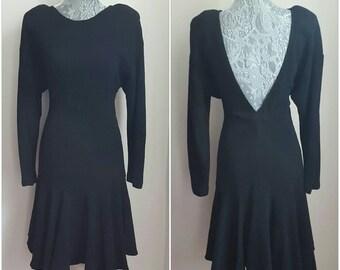 80s vintage little black dress. Vintage 1980s fit and flare backless black dress. Size L. Vintage Dennis Boldsmith dress. 80s backless dress