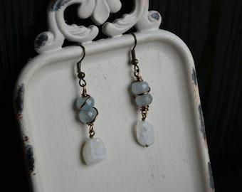 Aquamarine & Moonstone Earrings