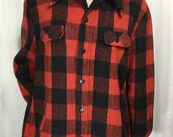 SEARS men's store wool lumberjack flannel • 50 tall