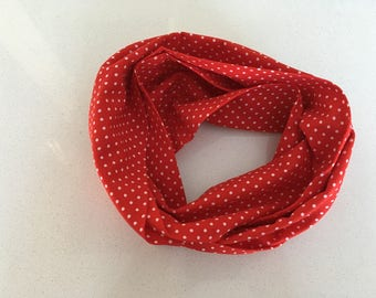 Infinity scarf - red with white polka dots
