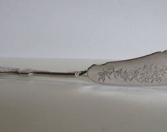 Antique Art Nouveau Etched Flowers & Birds S/P Serving/Butter Knife