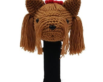 Hand Stitched Yarn Animal Driver/Wood Golf Head Cover - Yorkshire Terrier