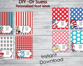 INSTANT DOWNLOAD- Personalized Dr. Seuss food Labels, Food Labels, Buffet Labels, Tent Cards, Place Cards, Dr. Seuss, Cat in the Hat - DIY