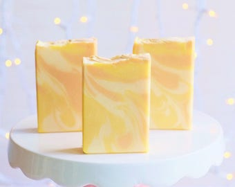 Lemony Custard handcrafted soap with Egg Yolk, Goats Milk, Kaolin Clay and Tussah Silk
