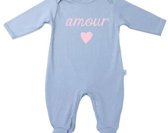 love + heart footie-baby pajamas-toddler pajamas-Footed sleeper, pajama, playsuit, pima cotton-personalized pajamas-pjs