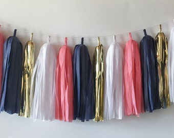 Tissue Tassel Garland  //  Coral // Navy  //Gold  //  Party Decoration  //  Bridal Shower  //  Baby Shower