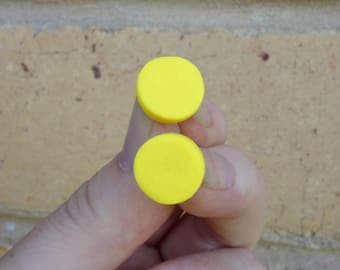 Yellow stud earrings, yellow earrings, polymer clay stud earring, polymer clay jewelry, bright studs, round studs, statement studs,FREE ship