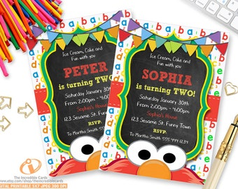 Elmo Invitation, Sesame Street Invitation, Chalkboard, Sesame Street, Second Birthday, 2nd Birthday, Printable Invitation