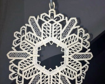 Doily snowflake geometric vintage lace embroidered