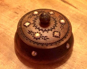 Vintage box jewelry wooden crafted French production, french antique wooden jewelry box
