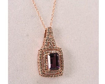 Amethyst & Diamond Necklace, Intricate 14K Rose Gold Setting