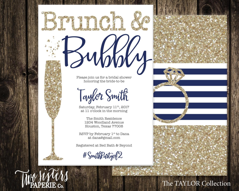 navy blue brunch and bubbly bridal shower invitation navy