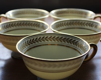 Set of 5 Lenox / Lenox Marshall Field Gold Leaf Circle Teacups -- Serial Number -- Gold, Yellow, Circle, Rim, Fine China