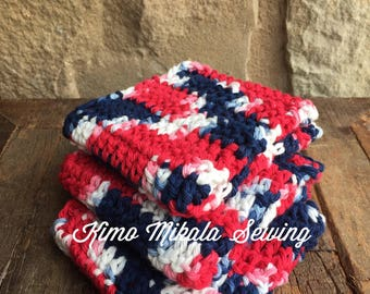 Crocheted Dishcloths - Red, White, and Blue - 100% Cotton - Set of Three