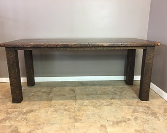 Reclaimed Wood Kitchen Island/Bar - 4x4 Wood Leg Bases  - Fast Shipping