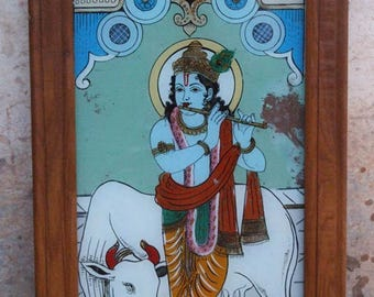 Old fixed under glass painting on glass 64x32cm Glass Painting India Krishna