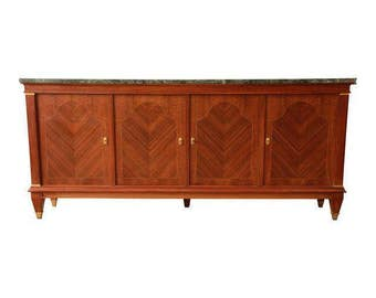 1940s French Inlaid Mahogany & Marble Sideboard / Vintage French Buffet / Monumental Sideboard