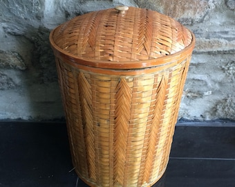 Vintage Rattan Basket, Lidded Wicker Basket, Storage Basket, Laundry Basket, Snake Charmer Basket, Woven Basket, Midcentury Decor