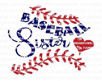Baseball sister svg, baseball sis svg, baseball sister dxf, baseball svg, baseball dxf, svg baseball sister, svg baseball, baseball heart