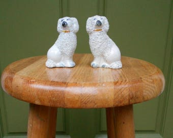 Pair of White Miniature Staffordshire Dogs