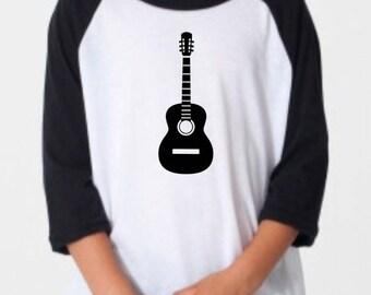 Kids Guitar Raglan / Kids Raglan / Kids Graphic Tee