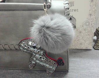 Gray Puffs Ball Horse Bag Charm Fluffy Fox Fur Ball Purse Charm Light Grey