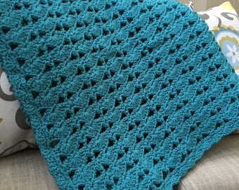 Aqua Blue Crochet Blanket, Crochet Blanket, Crochet Throw Blanket, Throw Blanket