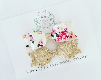 Floral hair bow, gold hair clip, sparkly hair slides, pink hair accessories, adult hair bow, girls hair grips, glittery hair bow, pretty bow
