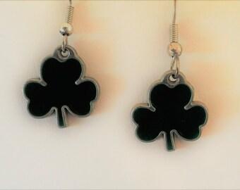 Green 3 Leaf Clover  Silver Tone Pierced Earrings
