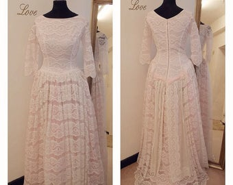 Wedding dresses, Blush Pink Wedding Dress, Vintage Lace Wedding Dress, 1950s wedding dress, 1960s wedding dress, with Illusion lace Sleeves