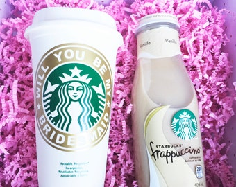 will you be my bridesmaid Starbucks Cup -  will you be my maid of honor? -  bridesmaid proposal-  customized starbucks cup - bridesmaid gift