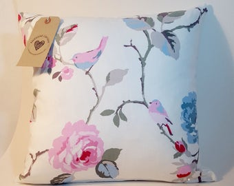 Handmade Clarke and Clarke floral and bird fabric cushion