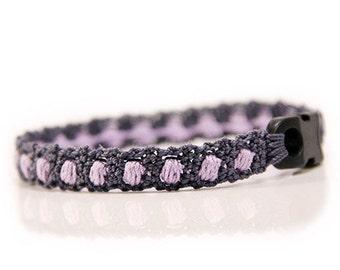 Armband Herren - lila - grau - Herren Armband - Geschenke für Männer - Stoffarmband - MudenoMade