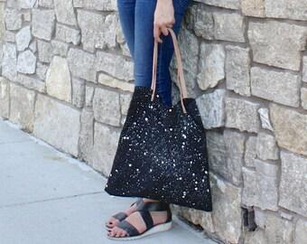 Constellation shoulder tote bag // black canvas splattered tote / leather strap tote