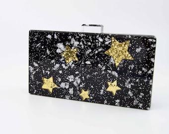 Black Glitter Star Box Acrylic Clutch
