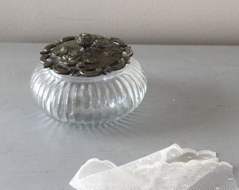 Reserved for Nadia Glass dish round with metal pewter lid vintage metal rose picture ring box jewels curio case
