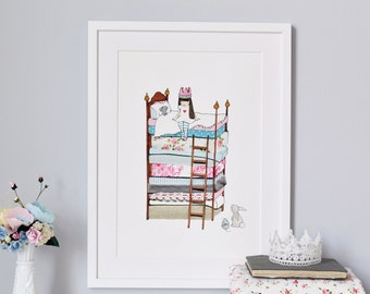 Princess and the Pea, UNFRAMED Picture, Girl's Nursery Art, Modern Floral Pink, Fairy tale Art, Princess Print, We can add your name!
