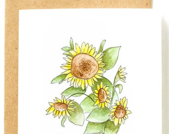 Sunflower Card, Watercolor Cards, Flower Cards, Floral Cards, Blank Card, Blank Card Set, Pack of Cards, Set of Cards