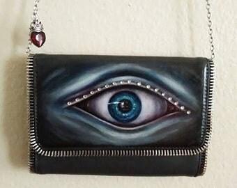 EyE purse, Big EYE, Blue Eye, handpainted