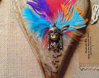 Wooden hanging heart, tribal girl charm, charms, gems on jute 20cm