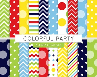 Colorful Party digital paper, birthday party, red, blue, green, yellow, patterns, scrapbook papers (Instant Download)