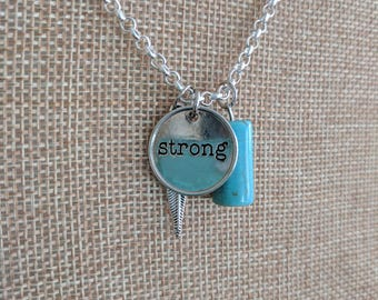 """Hope Inspired 24"""" Silver-toned Necklace - """"Charmed"""" w/natural stone, aqua, turquoise color, strong, feather - silver necklace, inspirational"""