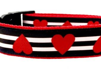Heart Dog Collar   Valentine Dog Collar   Personalized Dog Collar   Striped Dog Collar   Dog Collar for Girls   Engraved Metal Buckle