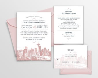 Seattle, Washington City Skyline 5-Piece Wedding Invitation Package